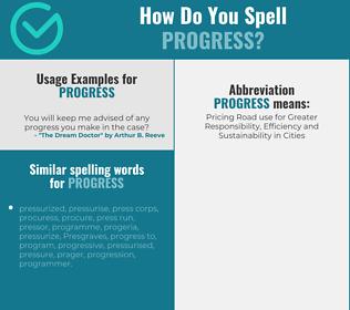 Correct spelling for progress