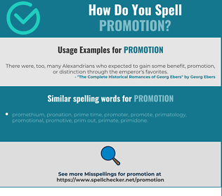 Correct spelling for promotion