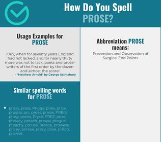 Correct spelling for prose