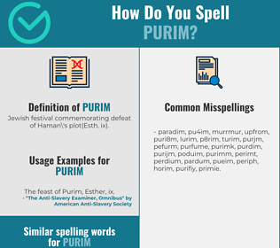 Correct spelling for purim