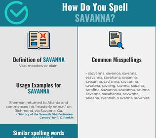 Correct spelling for savanna