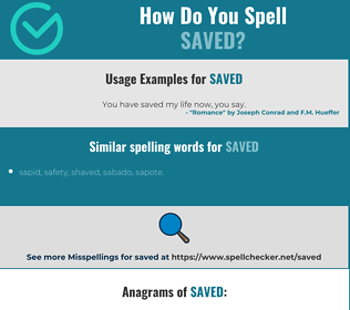 Correct spelling for saved