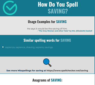 Correct spelling for saving