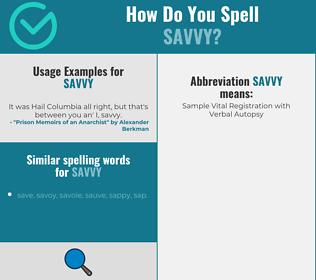 Correct spelling for savvy