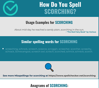 Correct spelling for scorching