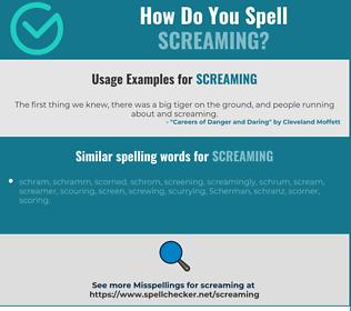 Correct spelling for screaming