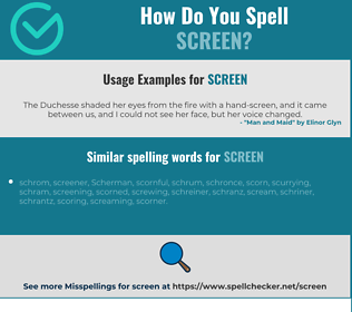 Correct spelling for screen