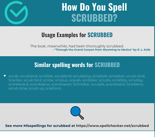 Correct spelling for scrubbed