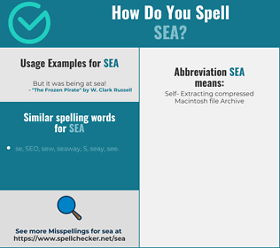 Correct spelling for sea