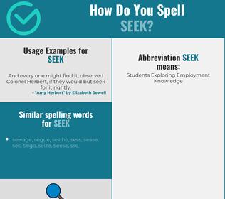 Correct spelling for seek