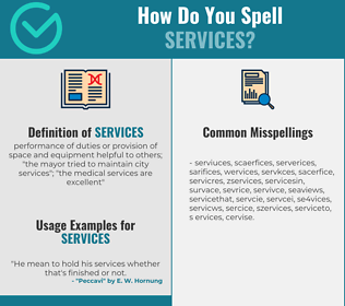 Correct spelling for services