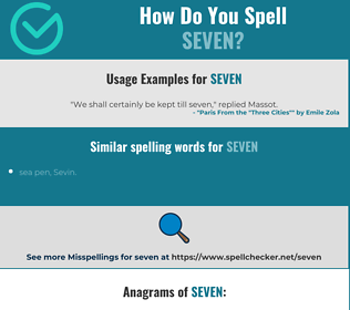 Correct spelling for seven