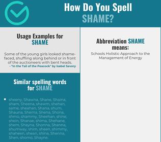 Correct spelling for shame