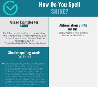 Correct spelling for shine