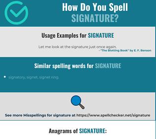 Correct spelling for signature