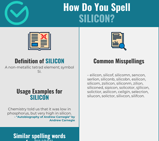 Correct spelling for silicon