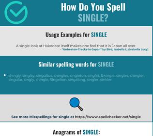 Correct spelling for single