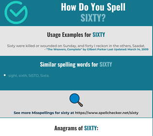 Correct spelling for sixty