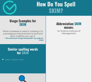 Correct spelling for skim