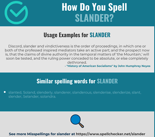 Correct spelling for slander