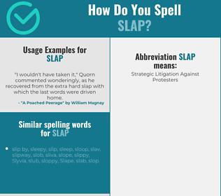 Correct spelling for slap