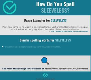 Correct spelling for sleeveless