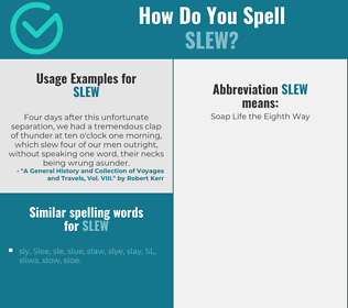 Correct spelling for slew