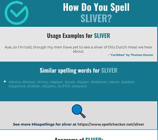 Correct spelling for sliver