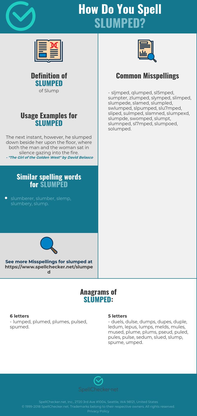 Correct spelling for slumped [Infographic] | Spellchecker.net