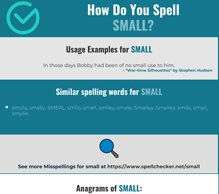 Correct spelling for small