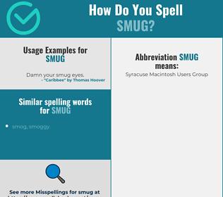 Correct spelling for smug