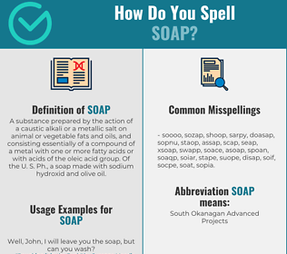 Correct spelling for soap