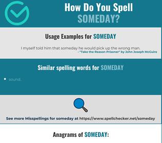 Correct spelling for someday