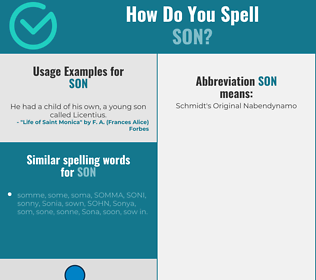 Correct spelling for son