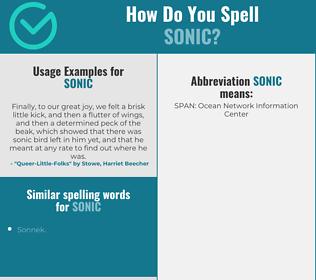 Correct spelling for sonic