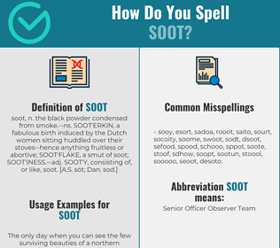 Correct spelling for soot