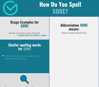 Correct spelling for sore