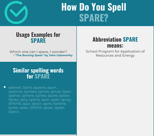 Correct spelling for spare