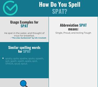 Correct spelling for spat