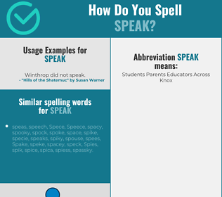Correct spelling for speak