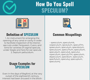 Correct spelling for speculum