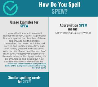 Correct spelling for spew