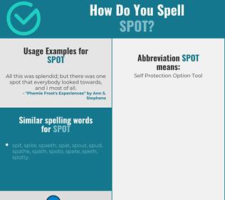 Correct spelling for spot