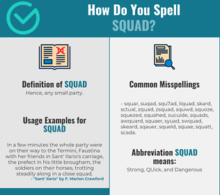 Correct spelling for squad