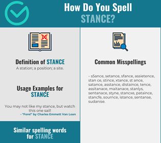 Correct spelling for stance