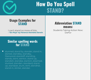 Correct spelling for stand