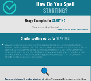 Correct spelling for starting