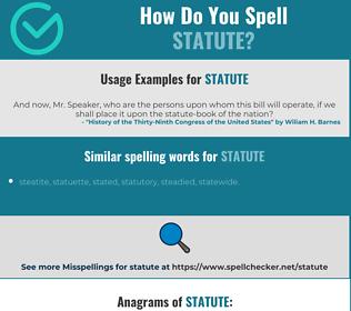 Correct spelling for statute