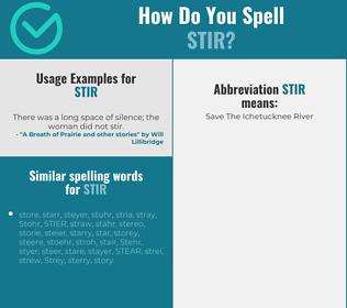 Correct spelling for stir