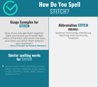 Correct spelling for stitch